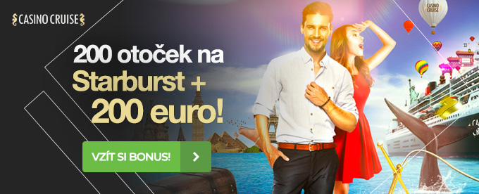 100% bonus do €200 + 200 spinů na Starburst