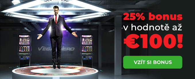 Získej 25% bonus do €100 ve Vegas Hero